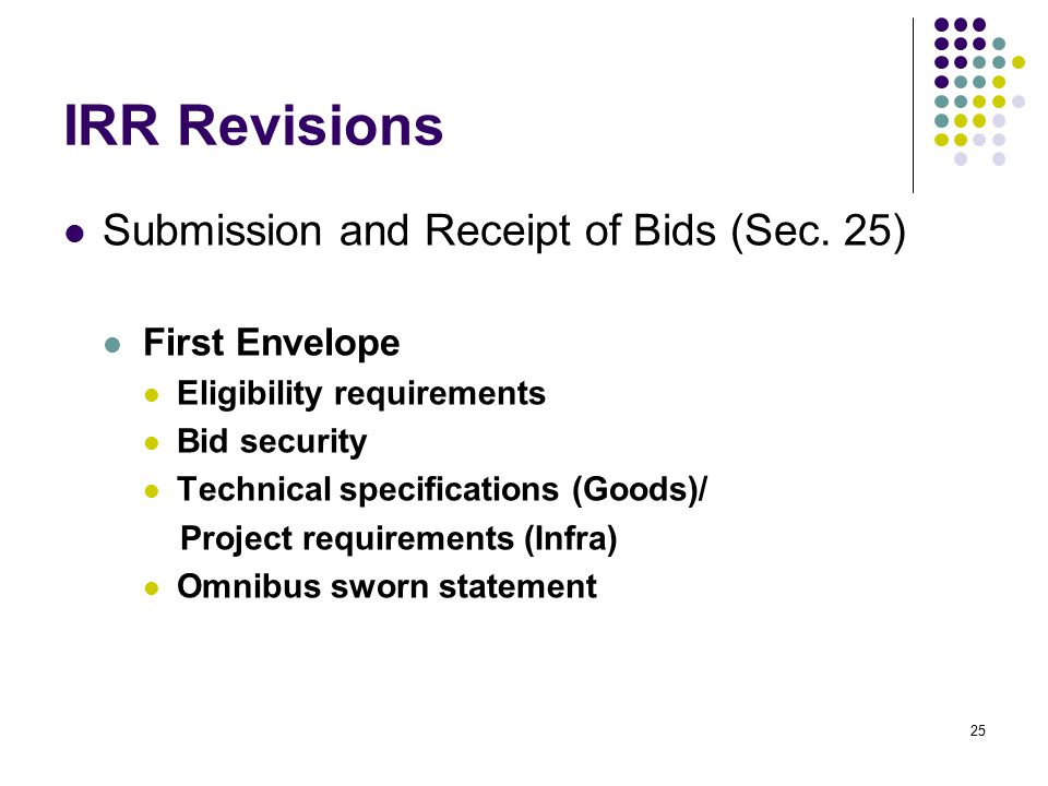 IRR Revisions Submission and Receipt of Bids (Sec. 25) First Envelope