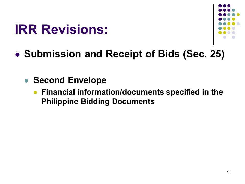 IRR Revisions: Submission and Receipt of Bids (Sec. 25)