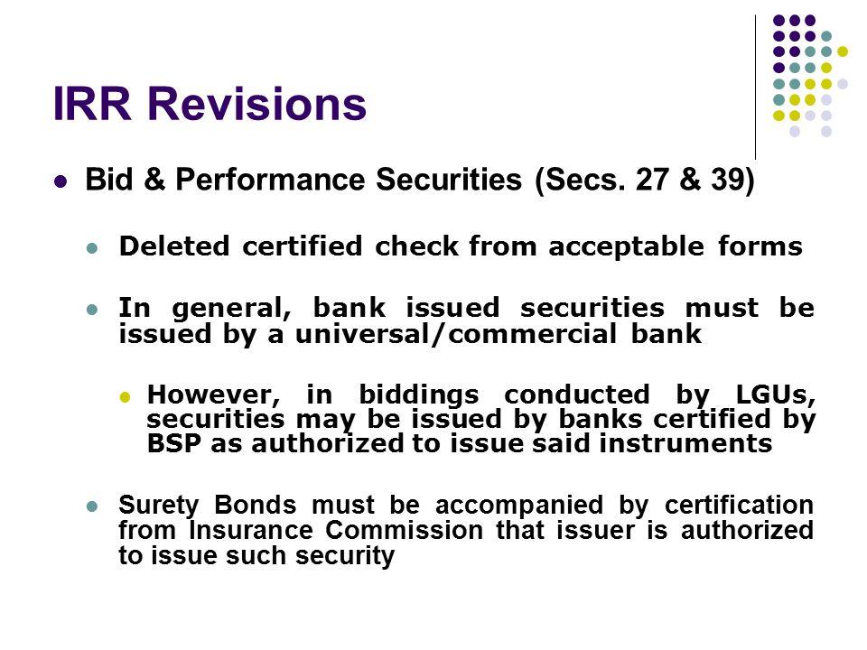 IRR Revisions Bid & Performance Securities (Secs. 27 & 39)