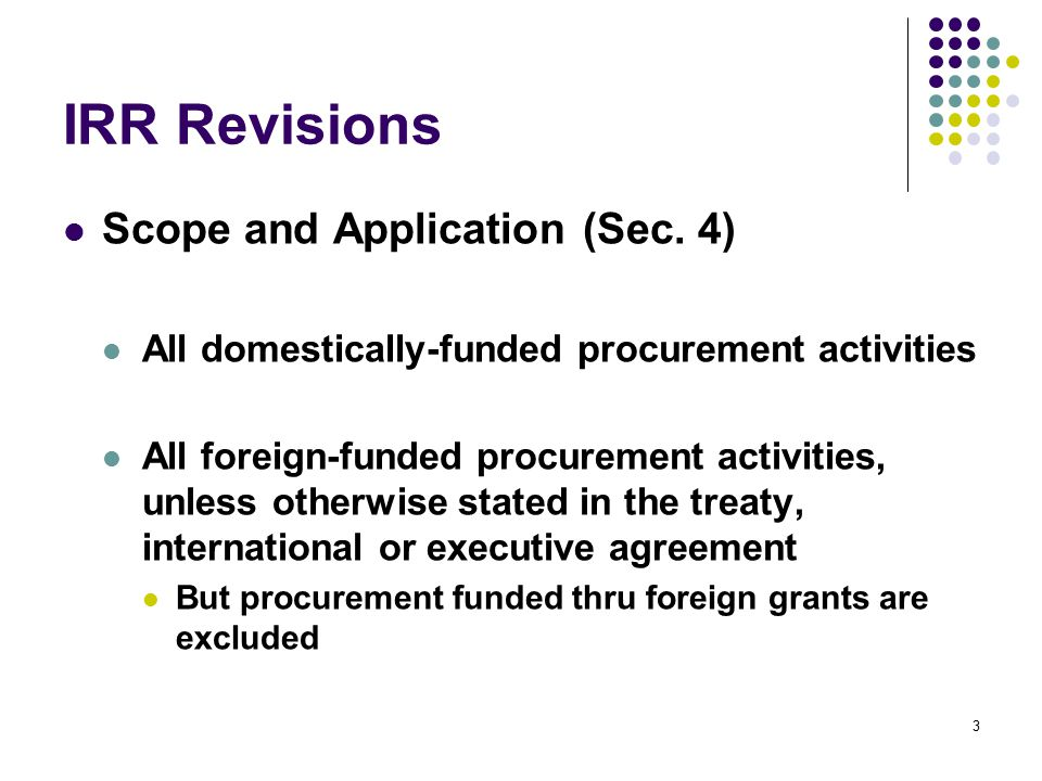 IRR Revisions Scope and Application (Sec. 4)