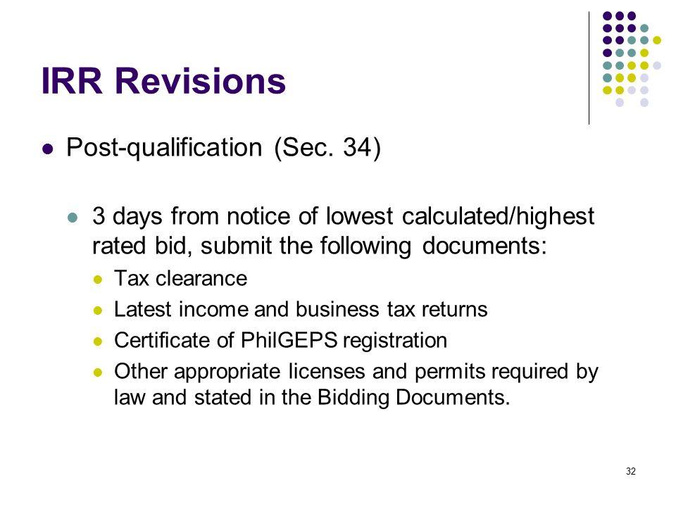 IRR Revisions Post-qualification (Sec. 34)