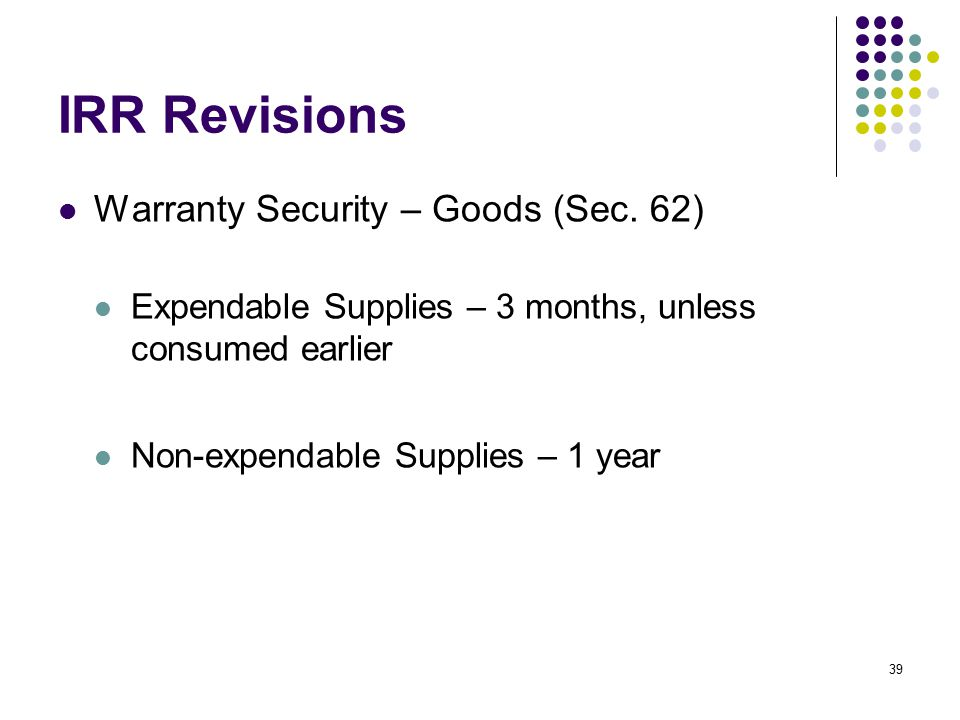 IRR Revisions Warranty Security – Goods (Sec. 62)