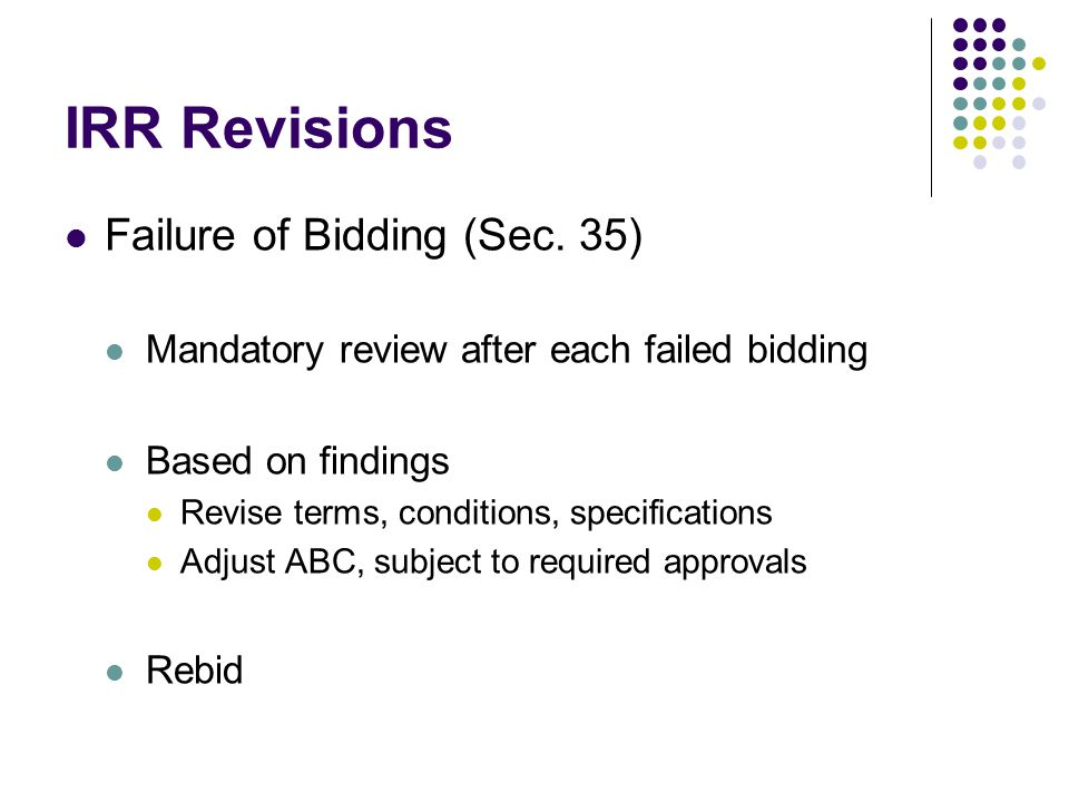 IRR Revisions Failure of Bidding (Sec. 35)