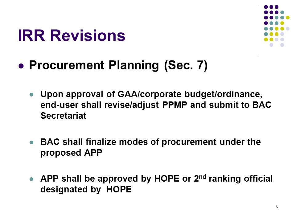 IRR Revisions Procurement Planning (Sec. 7)