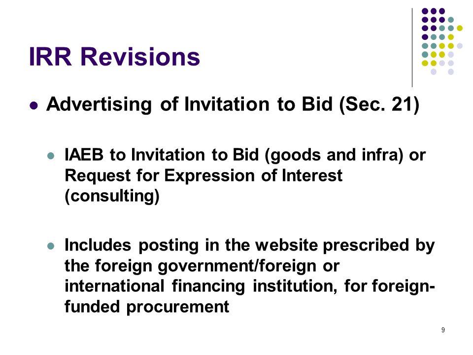 IRR Revisions Advertising of Invitation to Bid (Sec. 21)