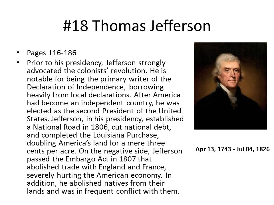 #18 Thomas Jefferson Pages 116-186