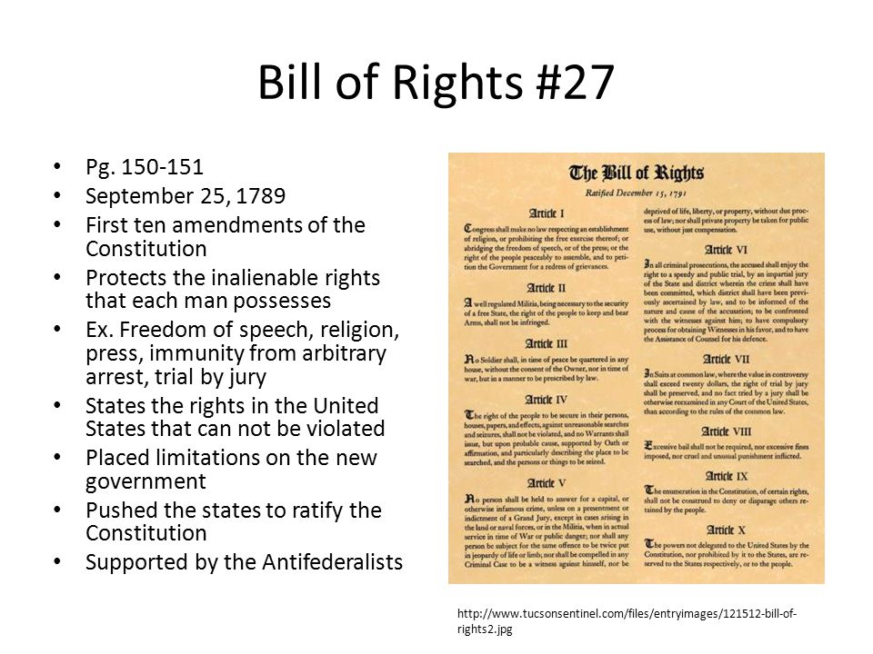 Bill of Rights #27 Pg. 150-151 September 25, 1789