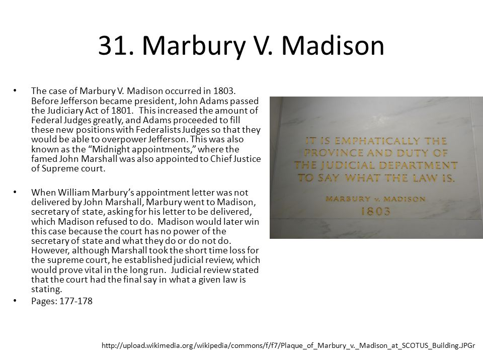 31. Marbury V. Madison