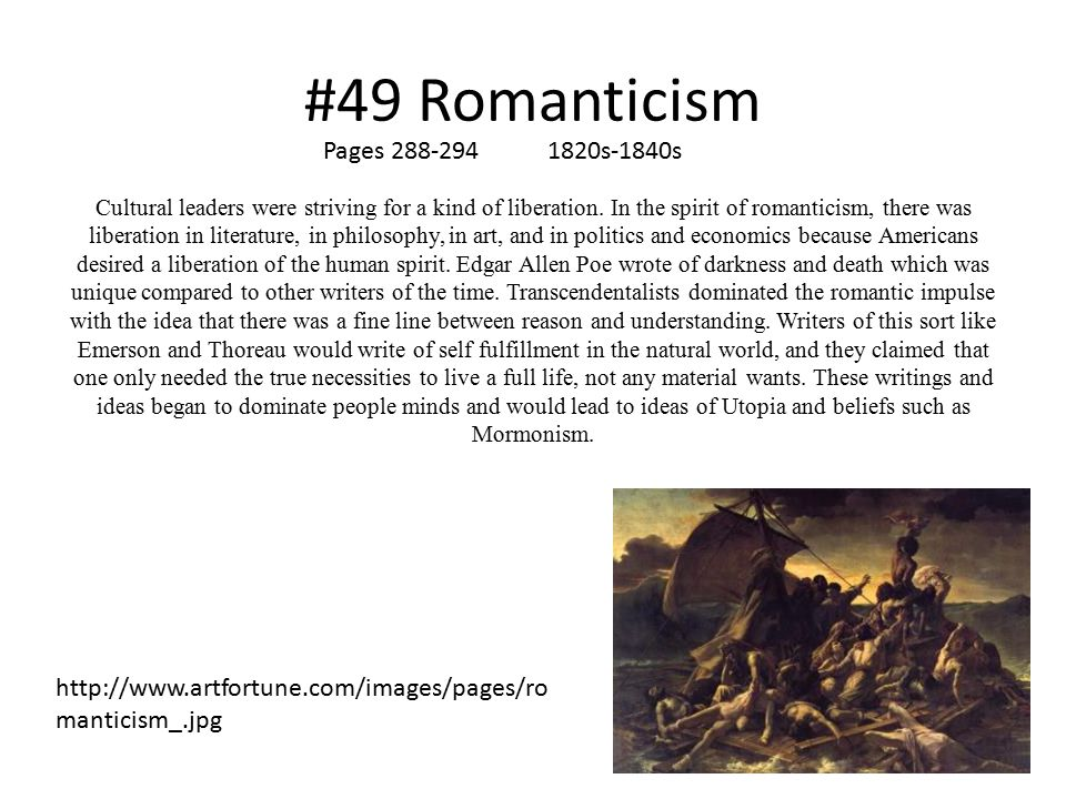 #49 Romanticism Pages 288-294 1820s-1840s