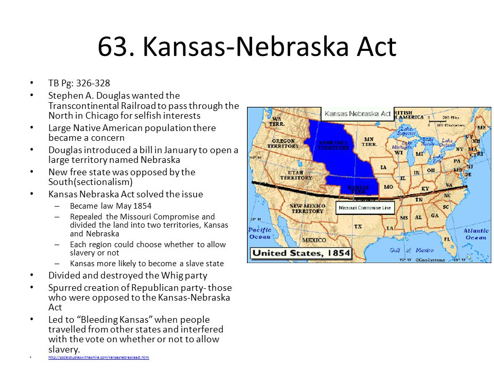 63. Kansas-Nebraska Act TB Pg: 326-328
