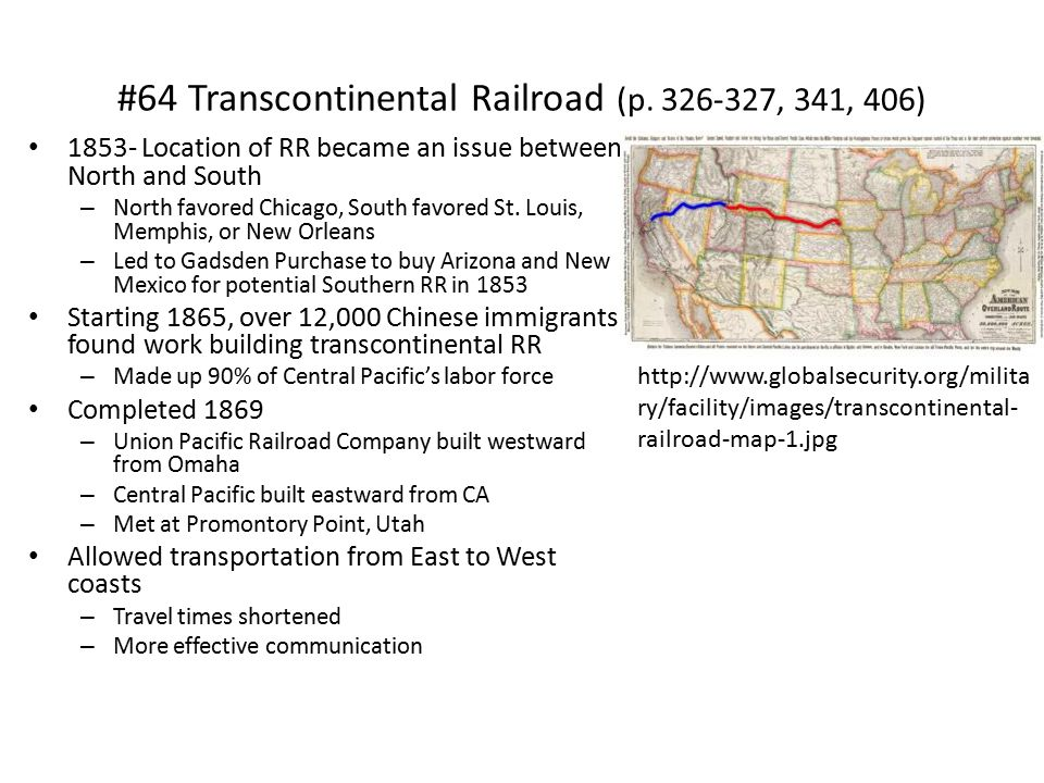 #64 Transcontinental Railroad (p. 326-327, 341, 406)