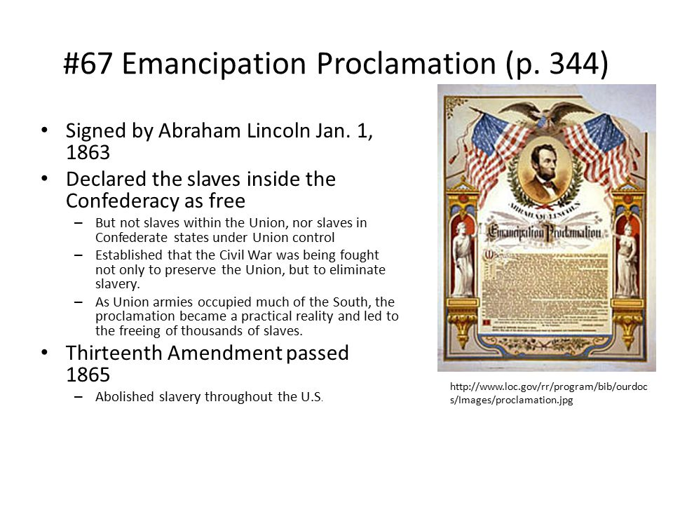 #67 Emancipation Proclamation (p. 344)