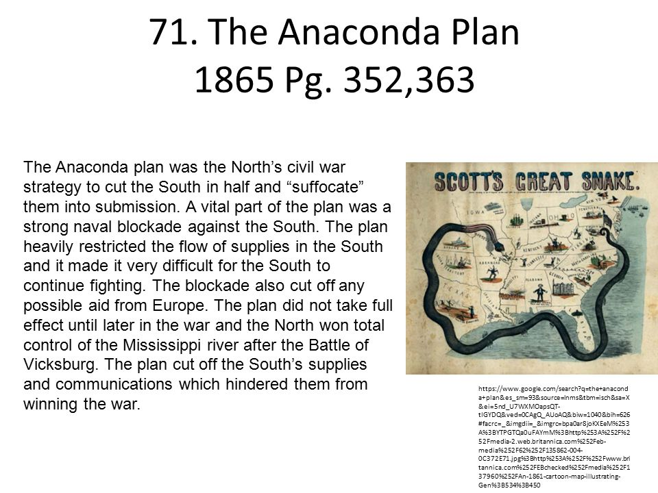 71. The Anaconda Plan 1865 Pg. 352,363