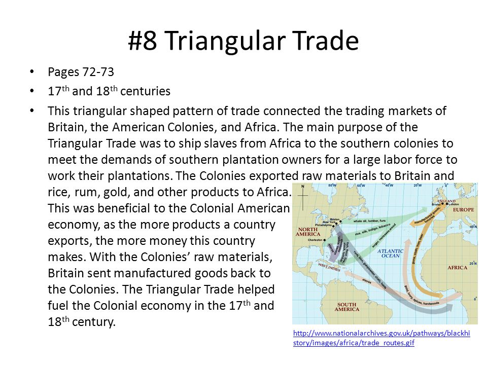 #8 Triangular Trade Pages 72-73 17th and 18th centuries
