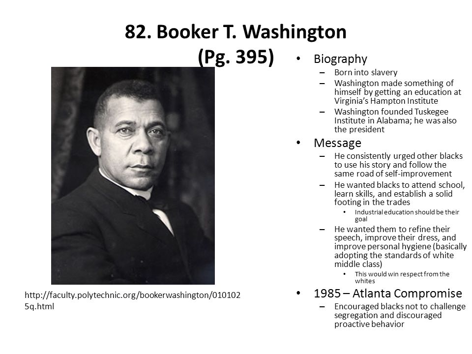 82. Booker T. Washington (Pg. 395)