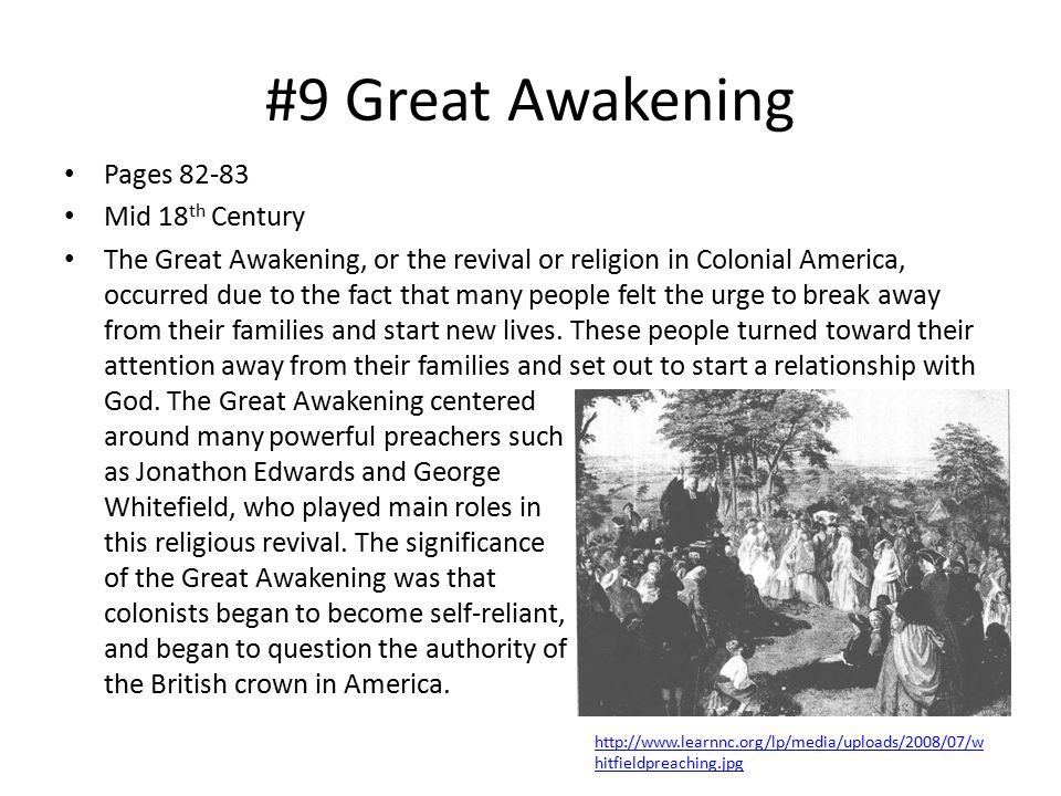 #9 Great Awakening Pages 82-83 Mid 18th Century