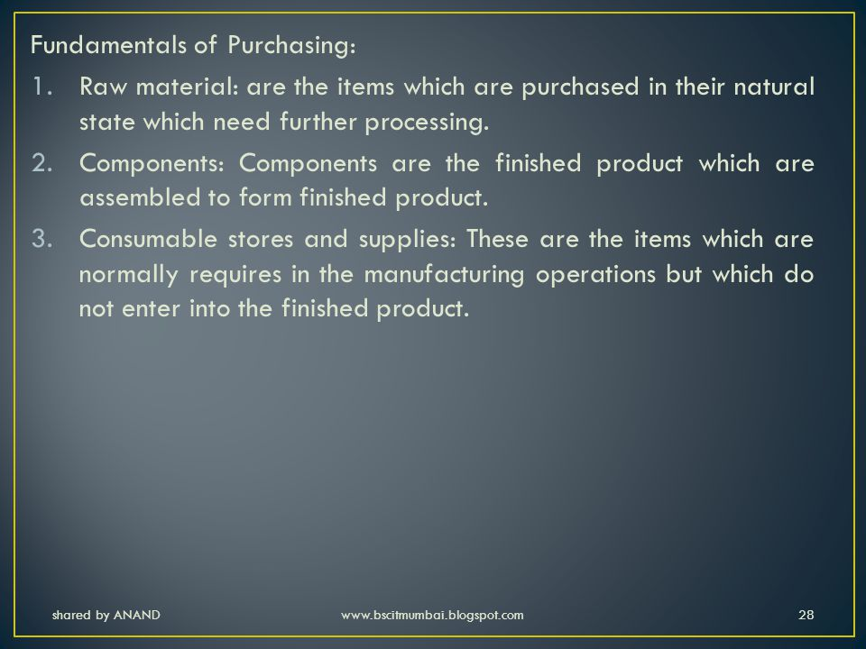 Fundamentals of Purchasing: