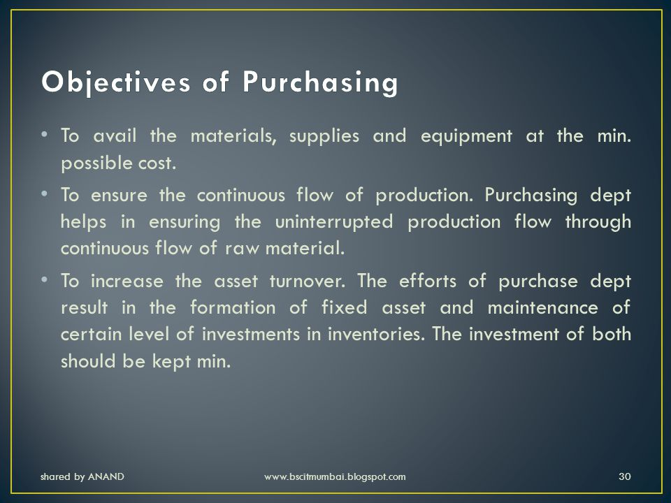 Objectives of Purchasing