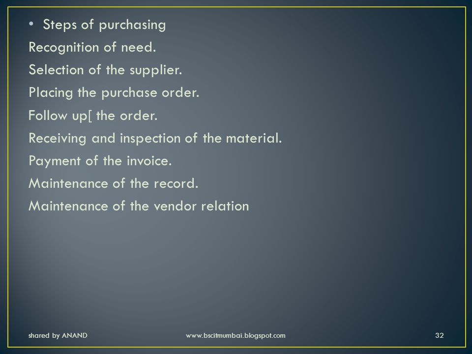 Selection of the supplier. Placing the purchase order.
