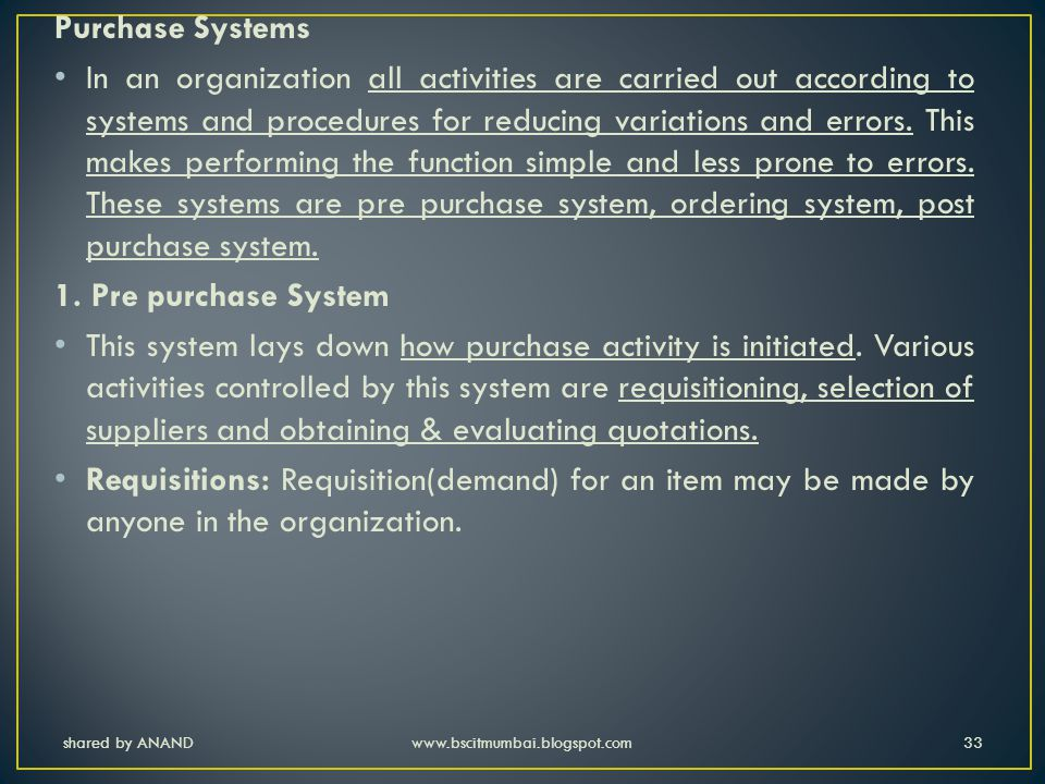 Purchase Systems