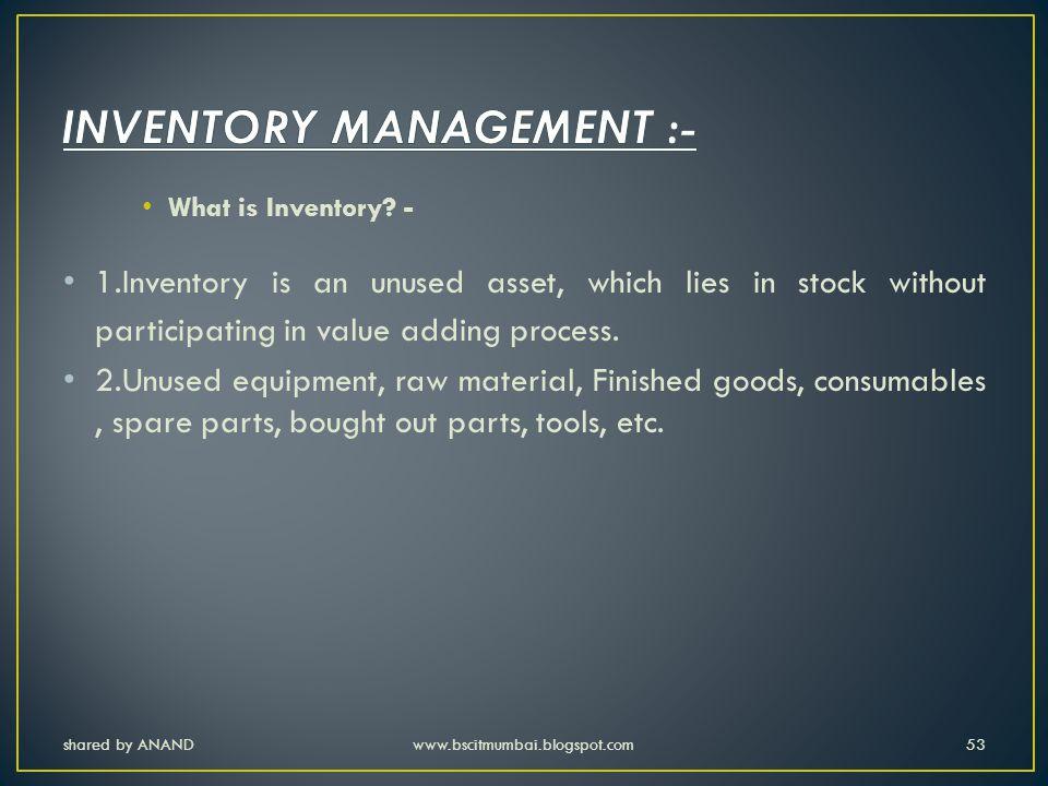 INVENTORY MANAGEMENT :-