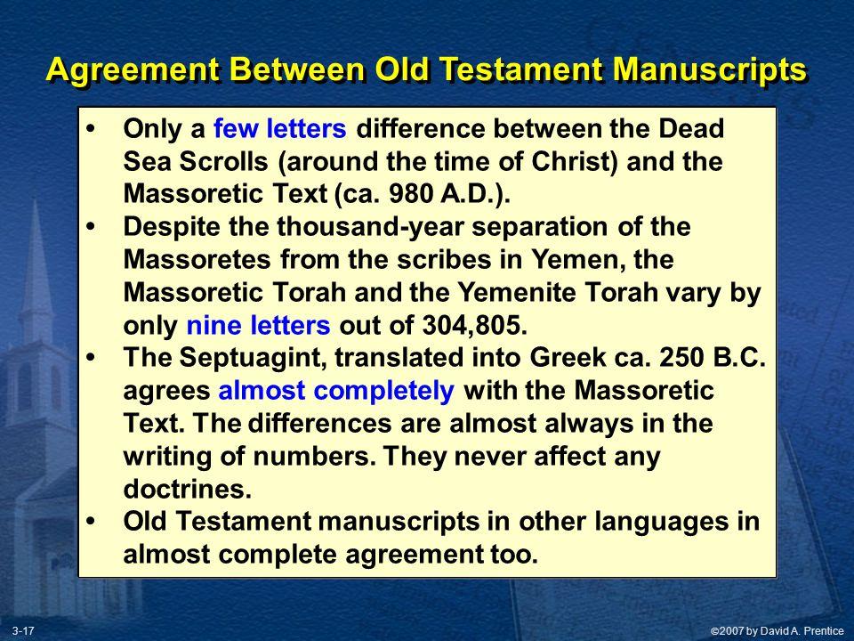 Agreement Between Old Testament Manuscripts