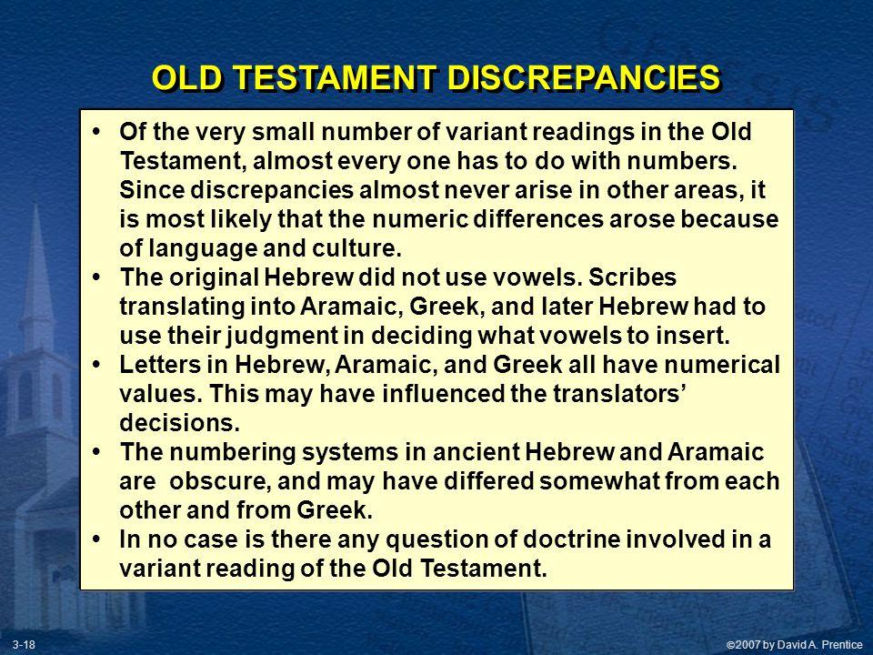 OLD TESTAMENT DISCREPANCIES