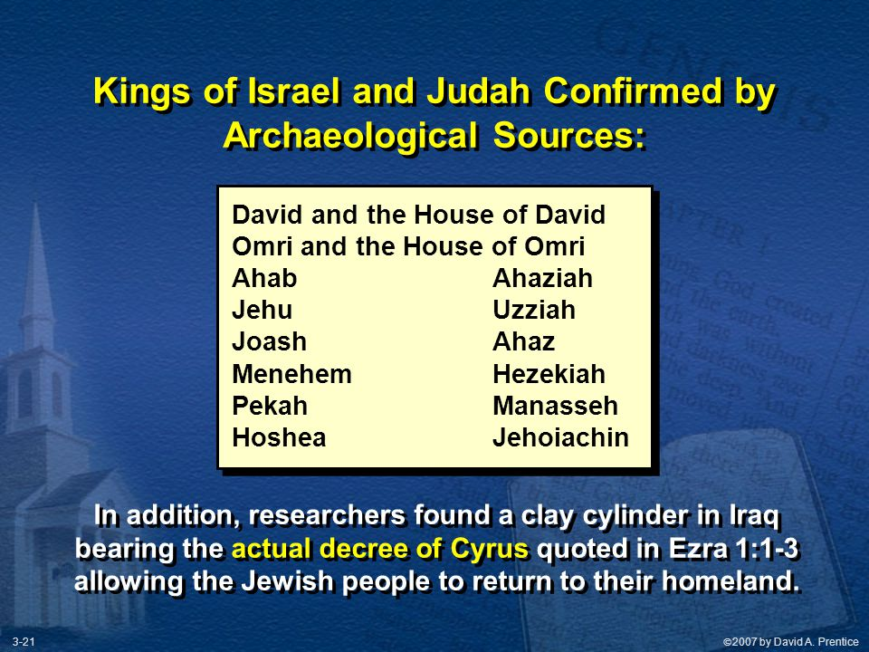 Kings of Israel and Judah Confirmed by Archaeological Sources: