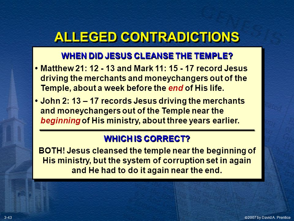 ALLEGED CONTRADICTIONS WHEN DID JESUS CLEANSE THE TEMPLE