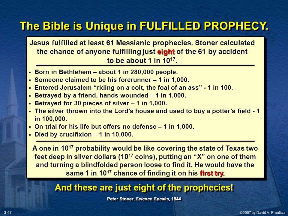 The Bible is Unique in FULFILLED PROPHECY.