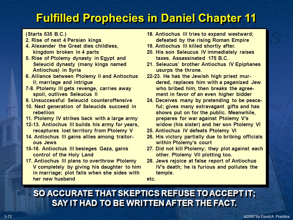 Fulfilled Prophecies in Daniel Chapter 11