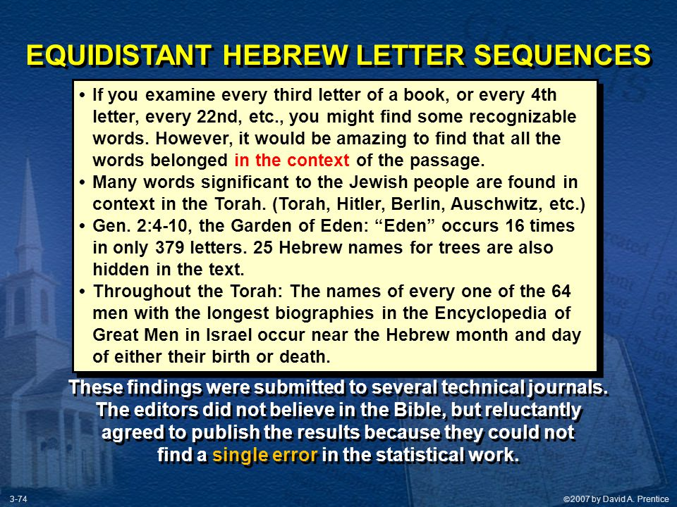 EQUIDISTANT HEBREW LETTER SEQUENCES