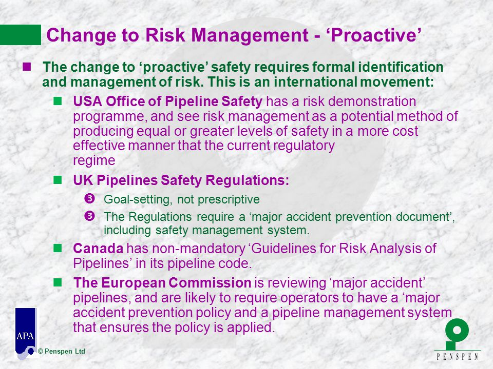 Change to Risk Management - 'Proactive'