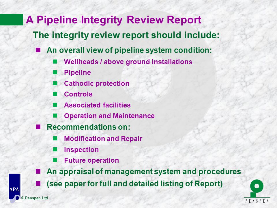 A Pipeline Integrity Review Report