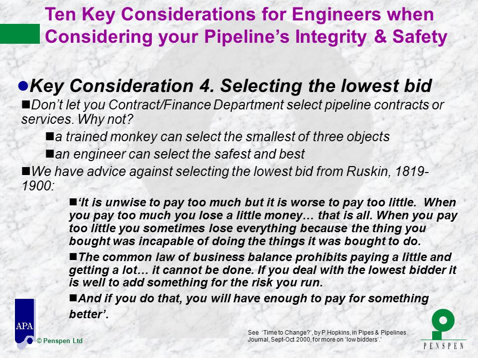 Key Consideration 4. Selecting the lowest bid