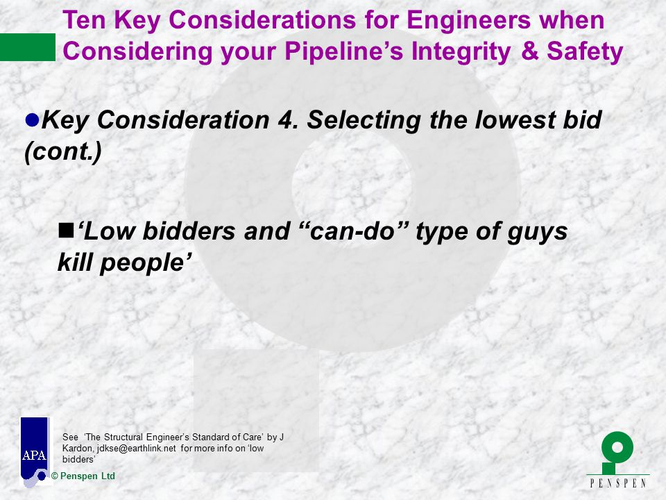 Key Consideration 4. Selecting the lowest bid (cont.)