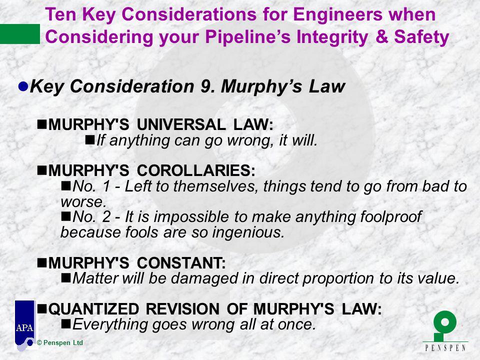 Key Consideration 9. Murphy's Law