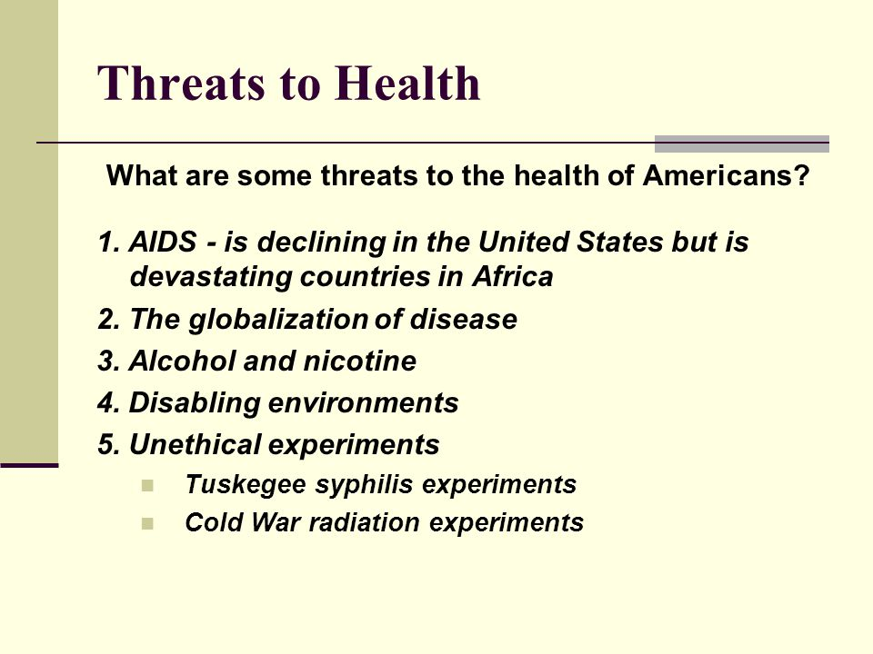 What are some threats to the health of Americans