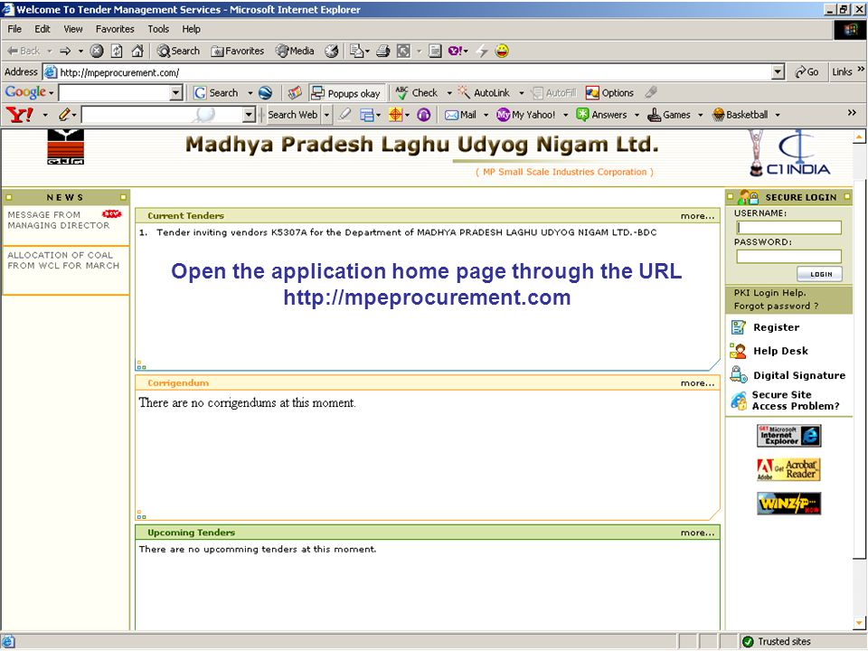 Open the application home page through the URL http://mpeprocurement