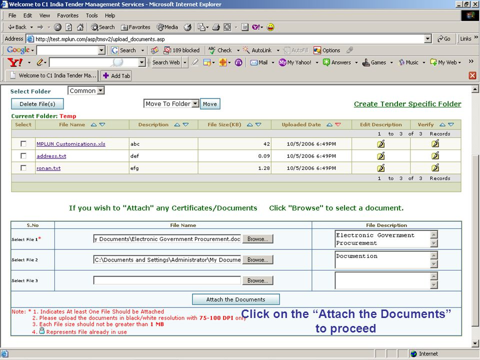 Click on the Attach the Documents to proceed