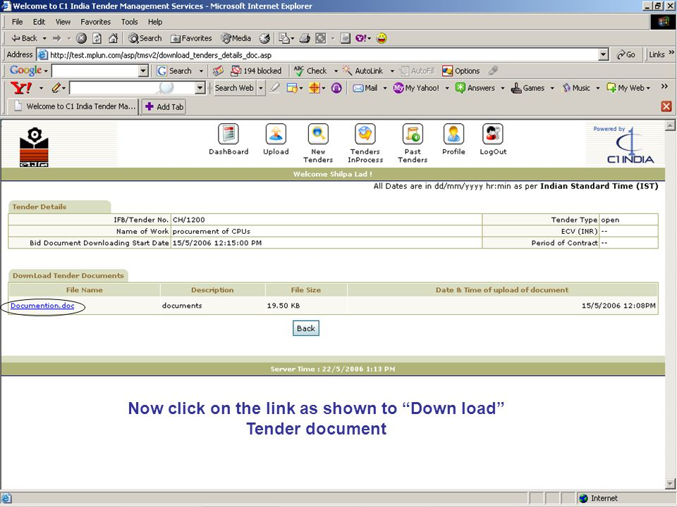 Now click on the link as shown to Down load Tender document