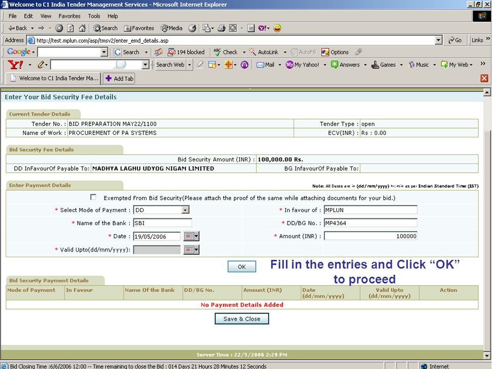 Fill in the entries and Click OK to proceed