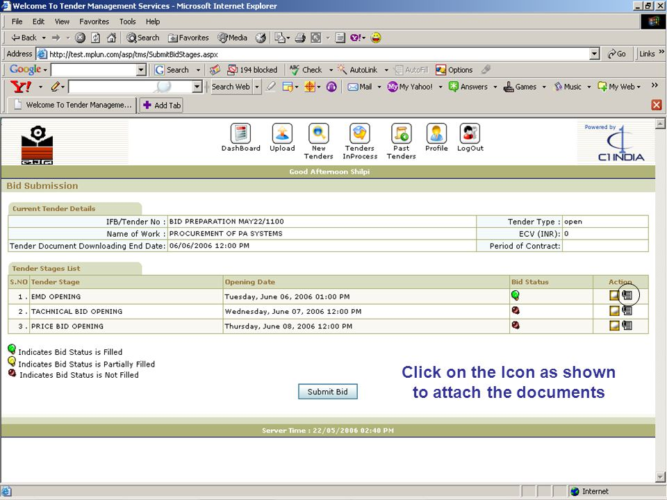 Click on the Icon as shown to attach the documents