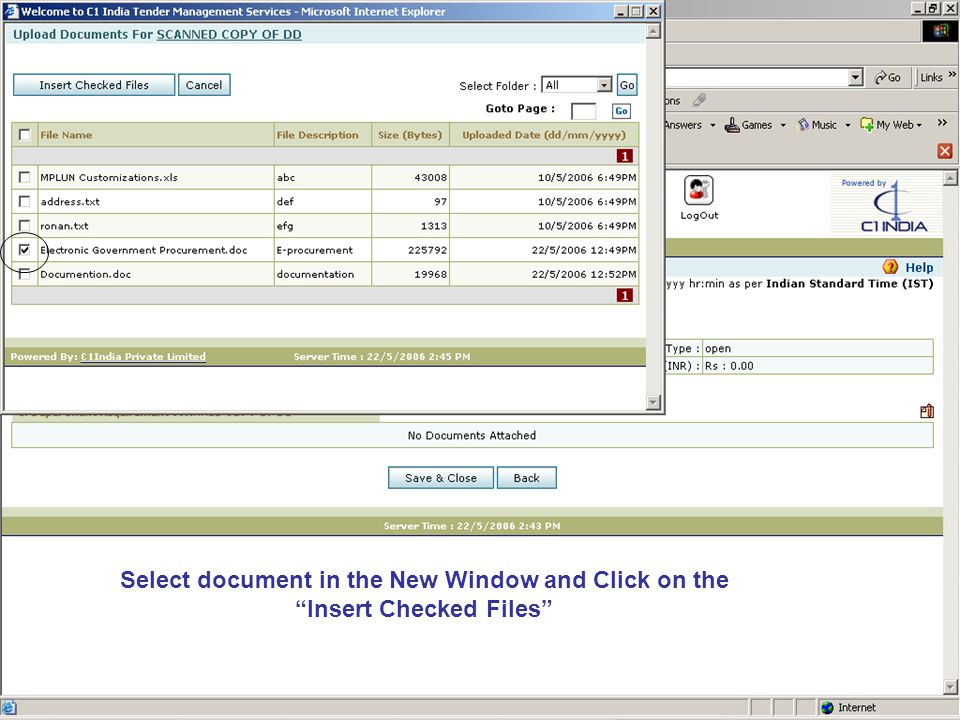 Select document in the New Window and Click on the Insert Checked Files