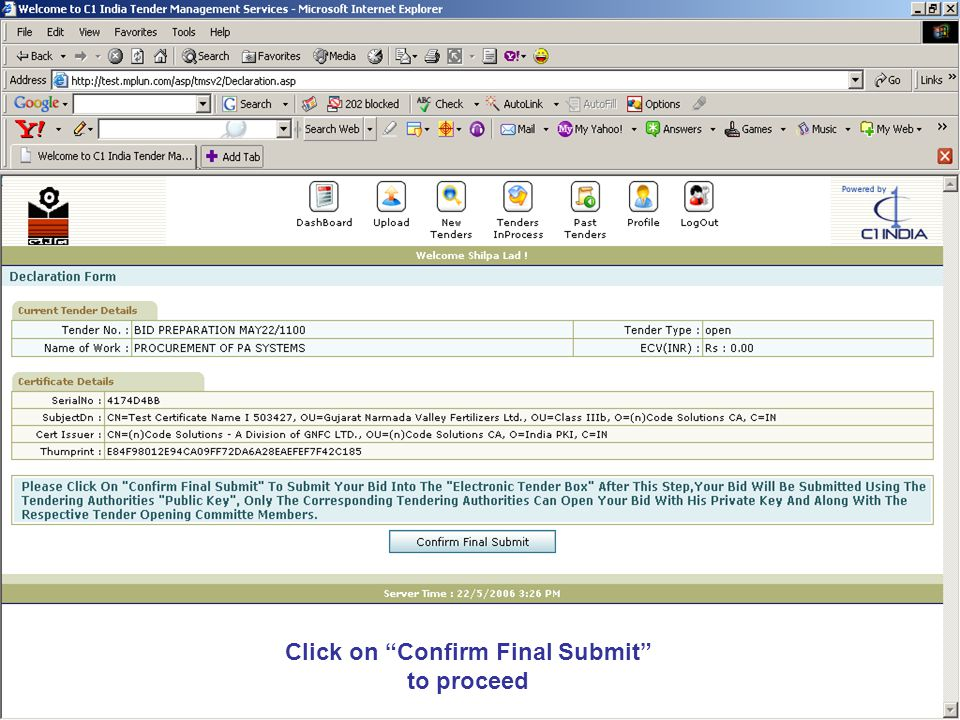 Click on Confirm Final Submit to proceed