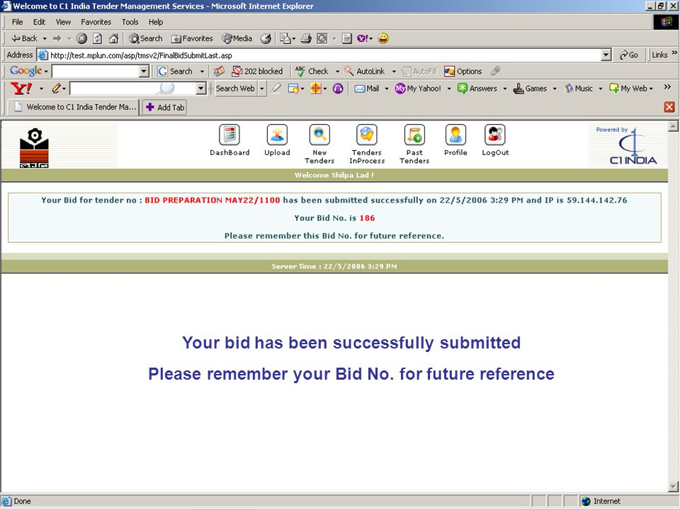 Your bid has been successfully submitted