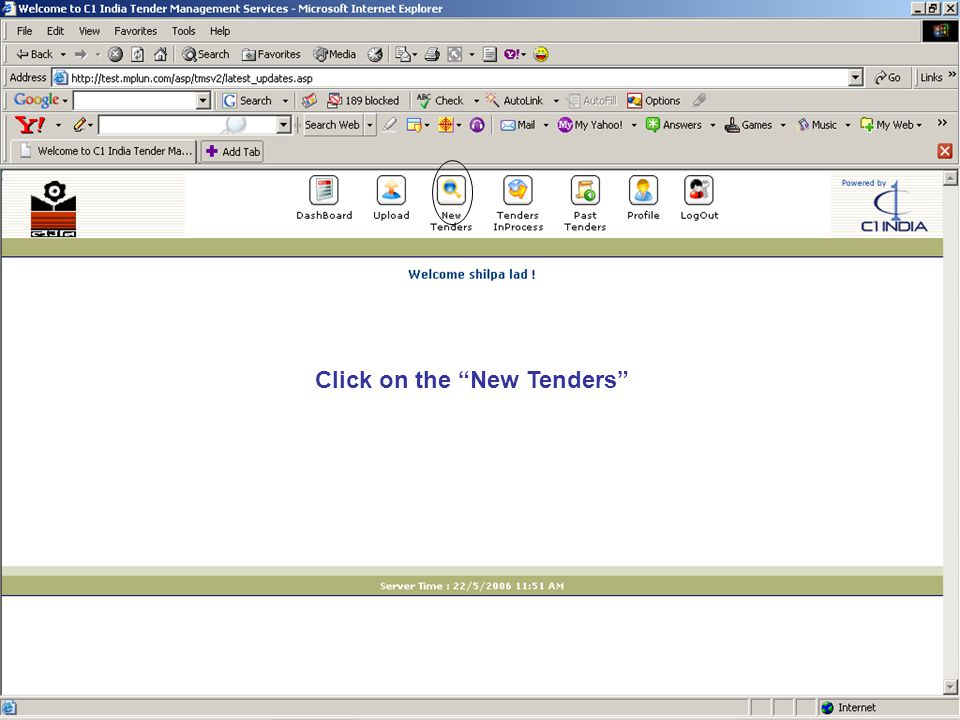 Click on the New Tenders