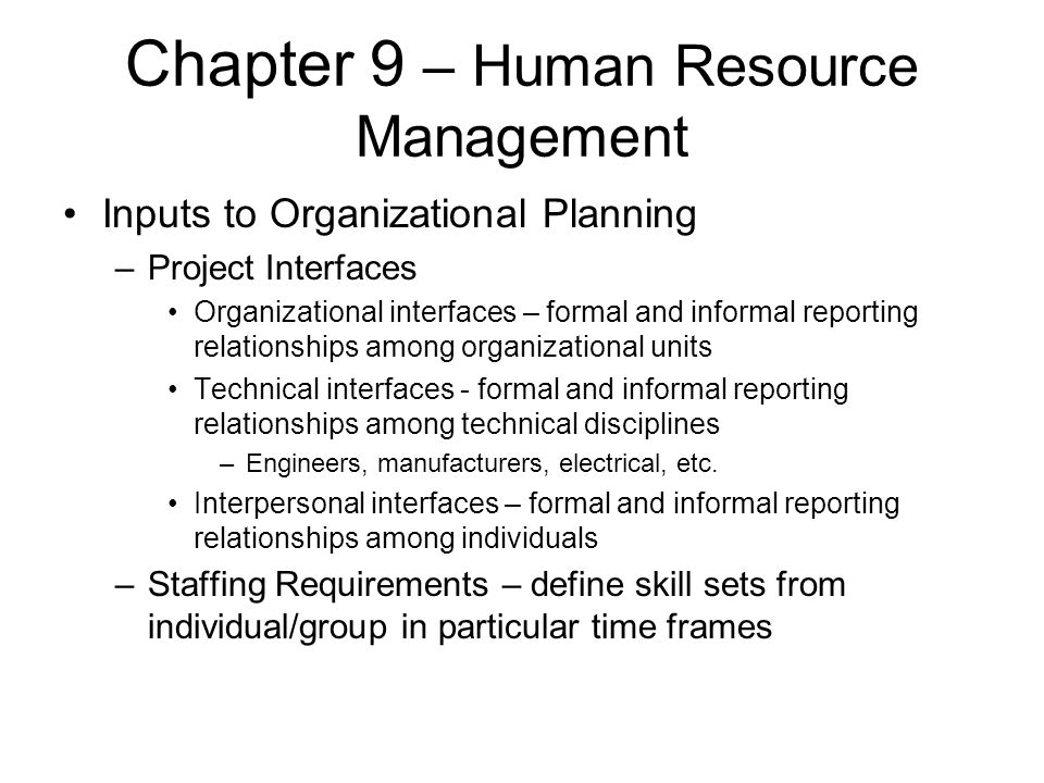 Chapter 9 – Human Resource Management