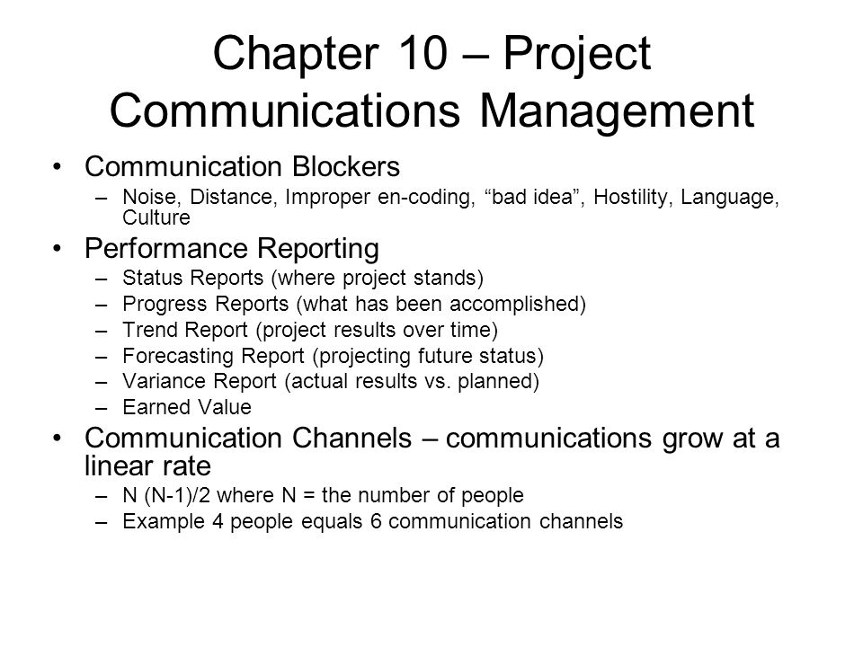 Chapter 10 – Project Communications Management