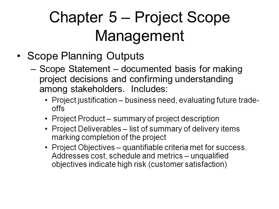 Chapter 5 – Project Scope Management